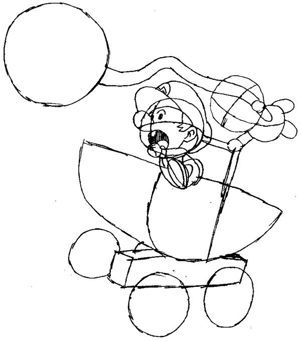 Step 9 : Drawing Baby Mario and Luigi Tutorial
