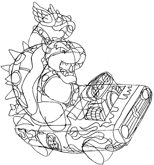 How To Draw Bowser Driving A Car And Throwing A Koopa From