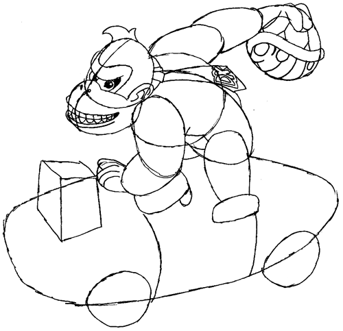 Step 8 : Drawing Donkey Kong in Easy Steps