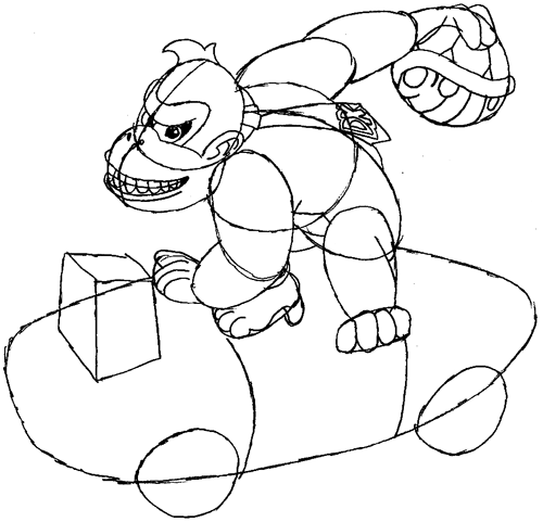 Step 9 : Drawing Donkey Kong in Easy Steps