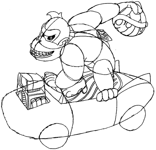 Step 10 : Drawing Donkey Kong in Easy Steps