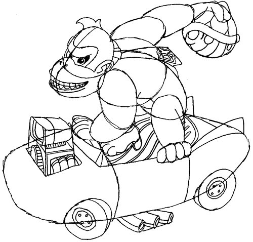 Step 11 : Drawing Donkey Kong in Easy Steps
