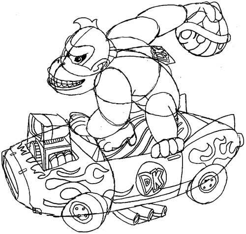 How to Draw Donkey Kong in His Car Throwing a Koopa Shell from Mario ...