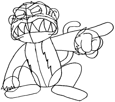 Step 6 : Drawing Evil Monkey Step by Step Lesson