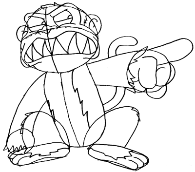 Step 7 : Drawing Evil Monkey Step by Step Lesson