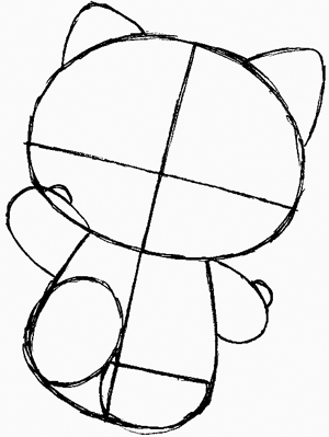 Step 5 : Drawing Hello Kitty in Easy Steps Tutorial