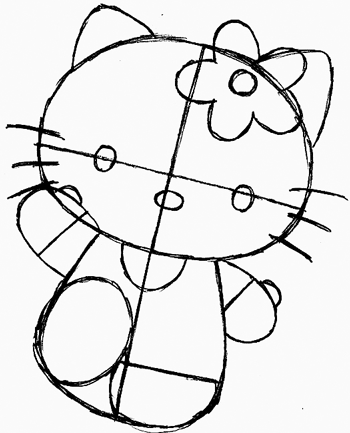 Step 6 : Drawing Hello Kitty in Easy Steps Tutorial