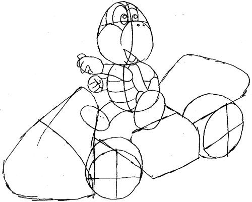 Step 8 : Drawing Koopa Step by Step Lesson