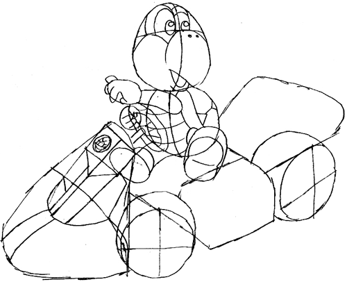 Step 10: Drawing Koopa Step by Step Lesson