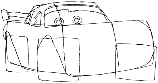 Step 4 : Drawing Lightning McQueen Step by Step Tutorial