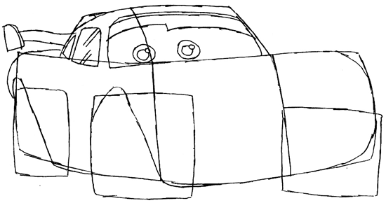 Step 5 : Drawing Lightning McQueen Step by Step Tutorial
