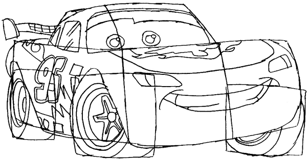 Step 7 : Drawing Lightning McQueen Step by Step Tutorial