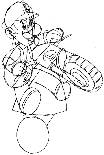 how to draw luigi riding a motorcycle bike from wii mario