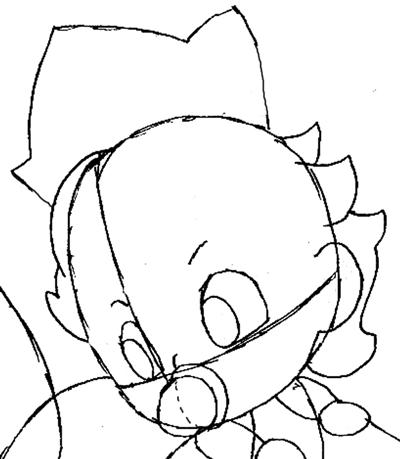 Step 6.5: Drawing Baby Princess Peach Step by Step Tutorial