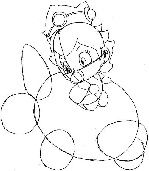 Step 7: Drawing Baby Princess Peach Easy Steps