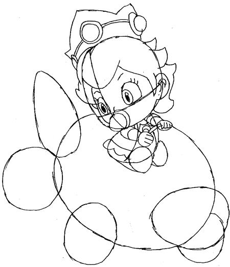 Step 8: Drawing Baby Princess Peach Easy Steps