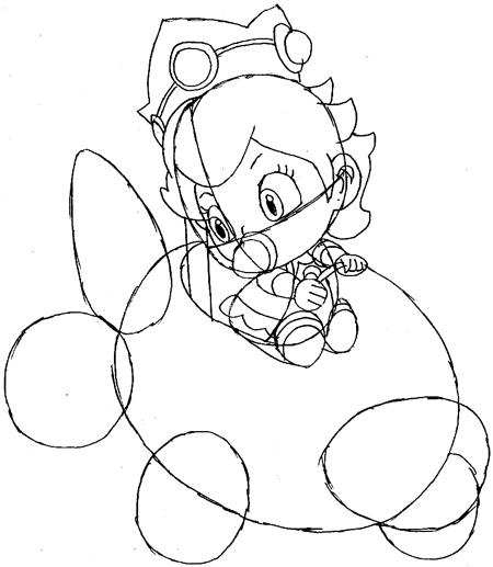 Step 9: Drawing Baby Princess Peach Easy Steps