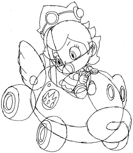 Step 11: Drawing Baby Princess Peach Easy Steps