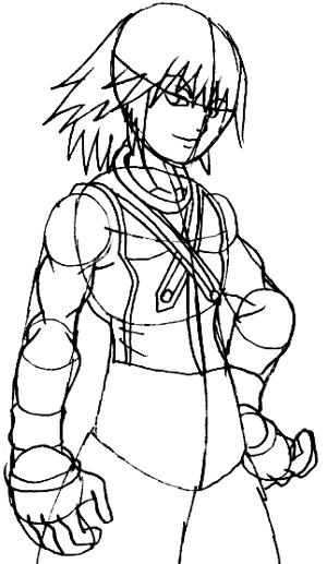 Step 6 : Drawing Riku Step by Step Tutorial