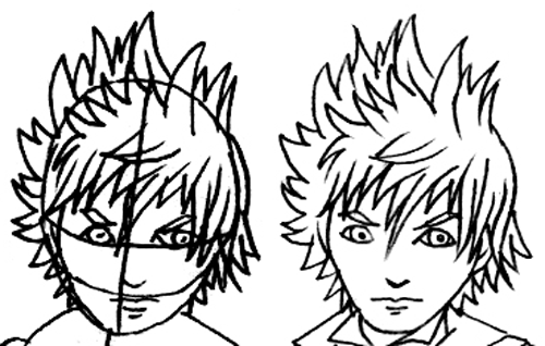 Step 5 : Drawing Roxas in Easy Steps Lesson