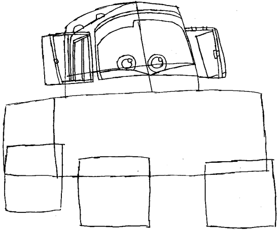 Step 4 : Drawing Tow Mater Step by Step Lesson