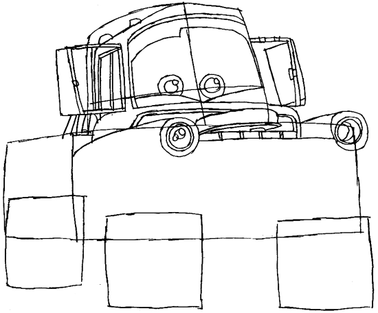 Step 5 : Drawing Tow Mater Step by Step Lesson