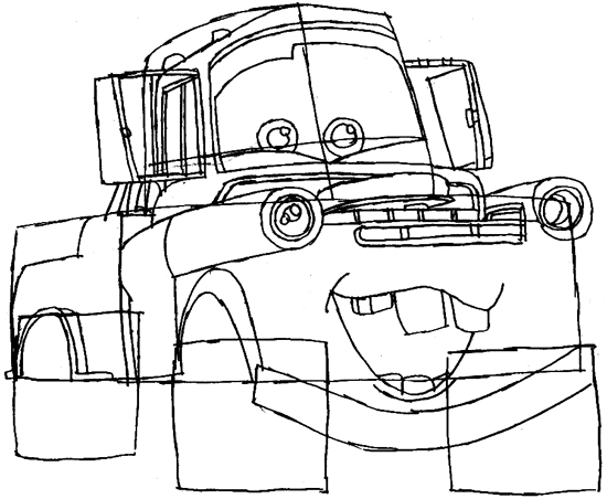 Step 6 : Drawing Tow Mater Step by Step Lesson