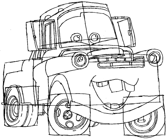 Step 7 : Drawing Tow Mater Step by Step Lesson