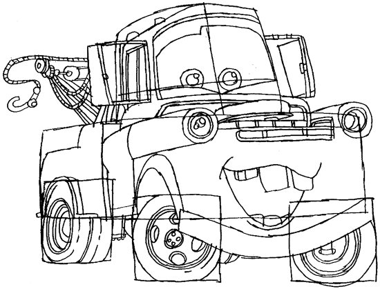 Step 8 : Drawing Tow Mater Step by Step Lesson