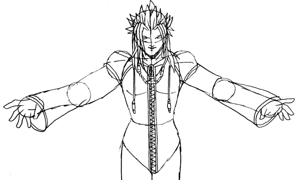 Step 6 : Drawing Xemnas Step by Step Tutorial
