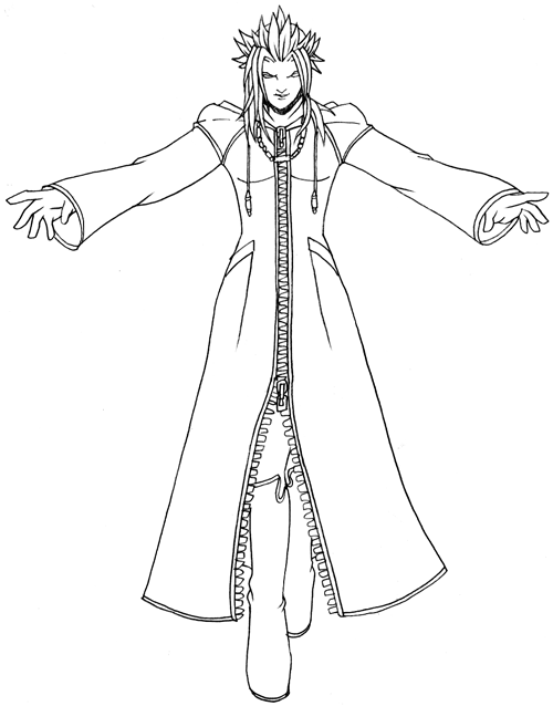 Step 8 : Drawing Xemnas Step by Step Tutorial