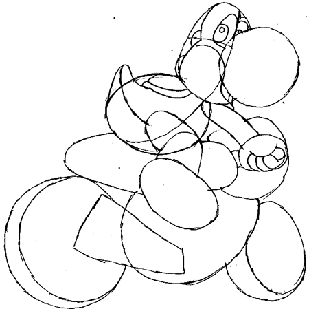 Step 9 : Drawing Yoshi in Easy Steps Tutorial