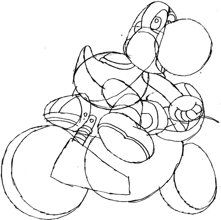 Step 11 : Drawing Yoshi in Easy Steps Tutorial