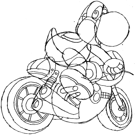 Step 13 : Drawing Yoshi in Easy Steps Tutorial