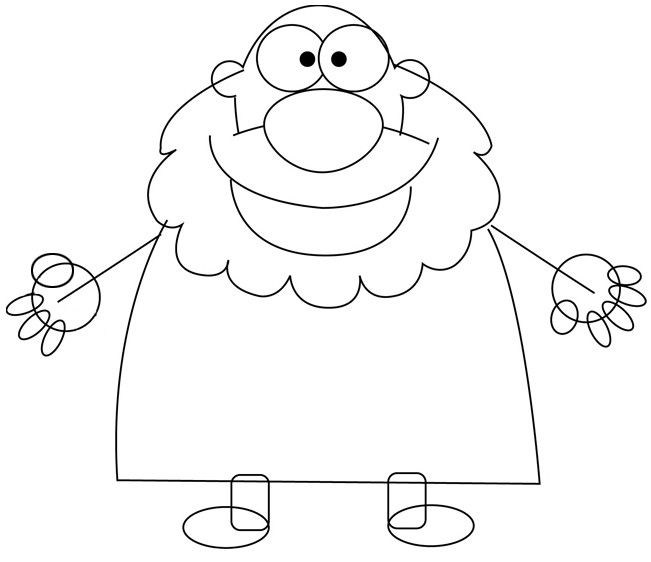 Step 4 : Drawing a Cartoon Caveman with Club Tutorial