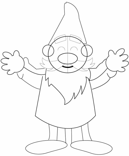 Step 5 : Drawing Garden Gnomes Lessons