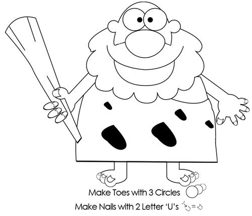Step 6 : Drawing Cartoon Caveman Tutorial