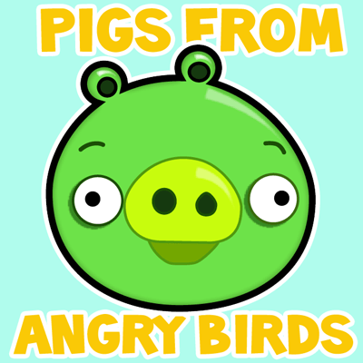 How to draw cartoon green pig from angry birds with easy step by step drawing tutorial