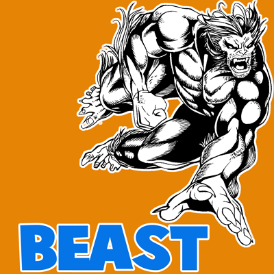 How to draw Beast from Marvel's X-Men Superhero Team with easy step by step drawing tutorial
