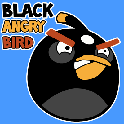 How to draw Black Angry Bird with easy step by step drawing tutorial