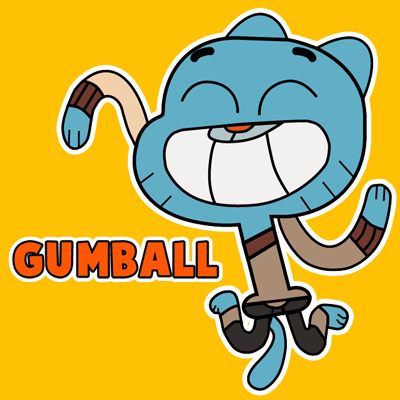 How to draw Gumball from the Amazing Adventures of Gumball Game with easy step by step drawing tutorial