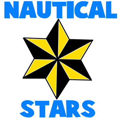 How to draw 6-sided Nautical Stars with easy step by step drawing tutorial
