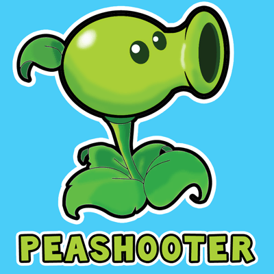 How to draw Pea Shooter from Plants vs. Zombies Game with easy step by step drawing tutorial