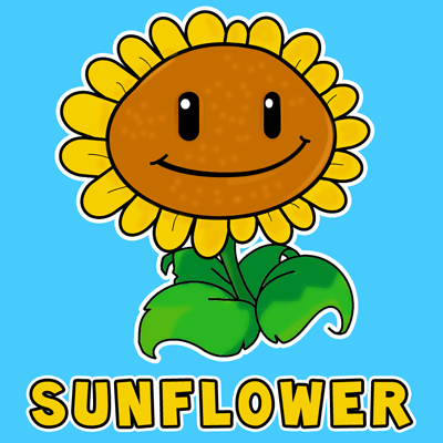 How to draw Sunflower from Plants vs. Zombies Game with easy step by step drawing tutorial