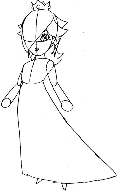 Step 5 : Drawing Rosalina from Wii Mario Kart Lesson