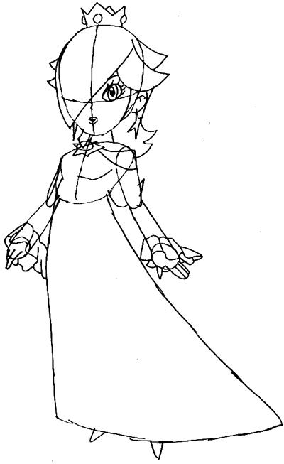 Step 6 : Drawing Rosalina from Wii Mario Kart Lesson