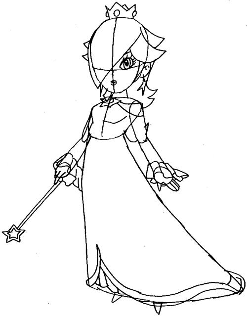Step 7 : Drawing Rosalina from Wii Mario Kart Lesson
