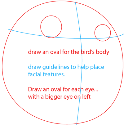 Step 1 : Drawing Black Angry Bird in Easy Steps Lesson