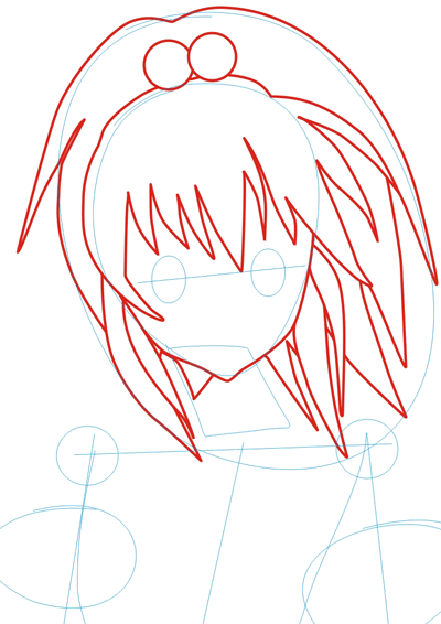 Step 2 : Drawing Nagisa Aoi in Easy Steps Lesson