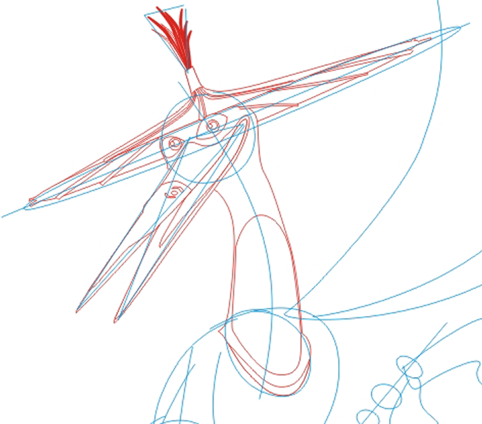Step 2 : Drawing Master Crane from Kung Fu Panda in Easy Steps Lesson